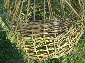 Before the remaining stakes are turned down a packing weve is completed at both sides. This weave is used to fill in the circular gap at each end.